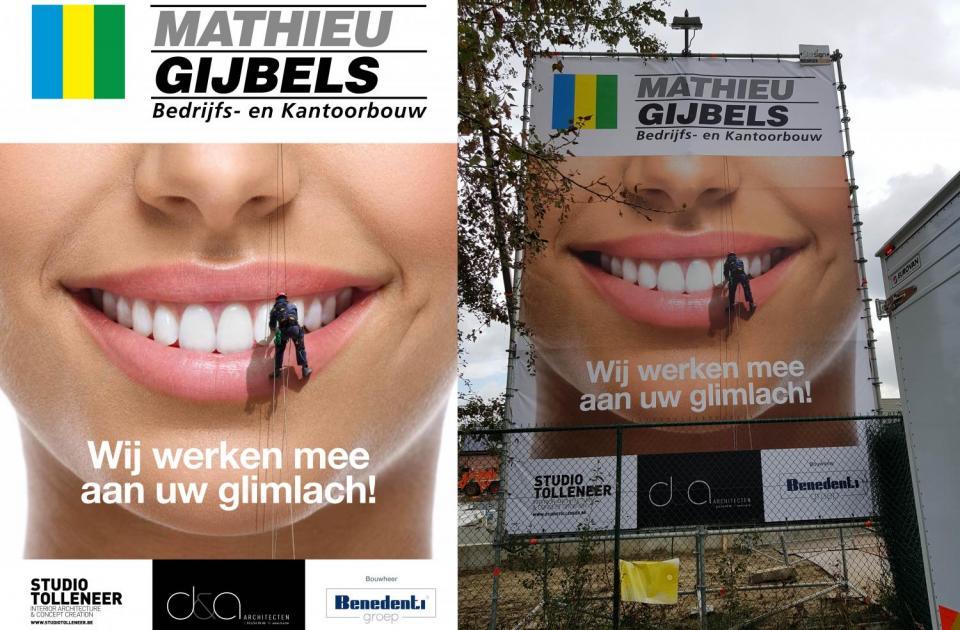 tandartsenpraktijk benedenti herentals nieuwbouw bouwbedrijf mathieu gijbels oudsbergen limburg werfreclame publiciteit